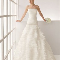 Gorgeous Vintage satin ball gown strapless court train wedding dresses MLVB0054