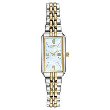 Ladies' Citizen Eco-Drive™ Silhouette Two-Tone Bracelet Watch with Mother-of-Pearl Dial (Model: EG2694-59D)