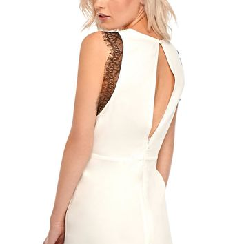 Shona Playsuit With Lace Trim in White