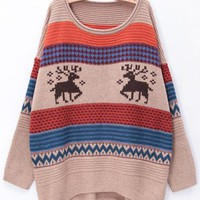 Round Neck Deer Stripe Sweater White Beige$40.00