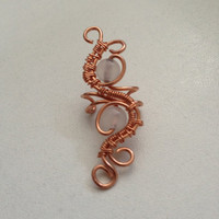Wire wrapped jewelry, handmade wire wrapped jewelry, Copper and Moonstone ear cuff, handmade wire wrapped ear cuff