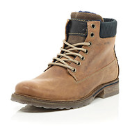 River Island MensBrown leather hiking boots