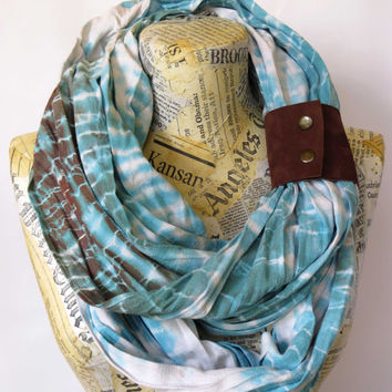 Cotton Infinity Scarf with Leather Cuff, Blue Brown Hand Painted Scarf, Shibori Long Scarf, Hand Dyed Woman's Scarf