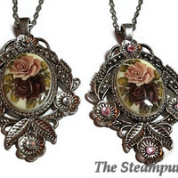 Vintage Double Rose Glass Decal Limoges Pendant Necklace