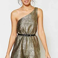 Silence + Noise One-Shoulder Crinkle Foil Romper - Gold