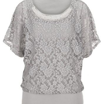 Faux pearl embellished lace dolman top