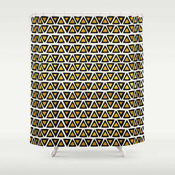 Aztec Gold Empire Shower Curtain by Pom Graphic Design