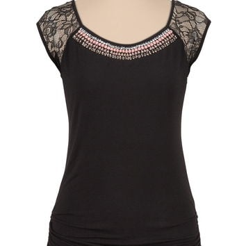 Jewel embellished short sleeve cinched tee