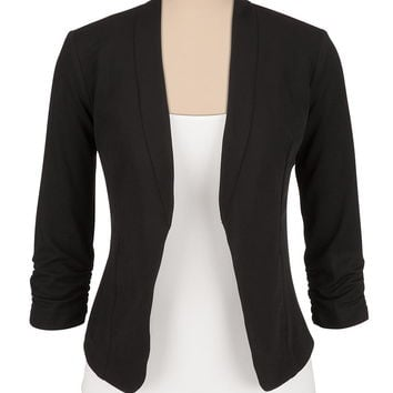 black 3/4 cinched sleeve open front blazer
