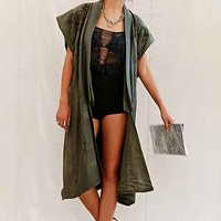 Vintage Green Embroidered Kimono Jacket- Assorted One
