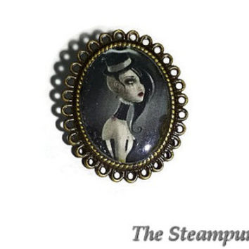 Gothic Ring - Goth Lady wearing Fascinator Top Hat - Gothic Jewelry - Adjustable Ring
