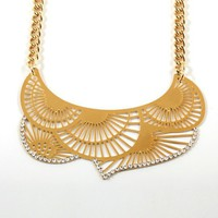 Sagit Revivo semi round gold necklace diamond trim