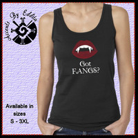 GOT FANGS Halloween T Shirt or Tank in sizes S - 3XL with Ruby Red Rhinestone Lips