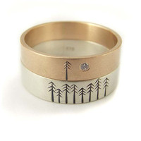 Wedding Band Engagement Set in 9kt Rose Gold and White Gold with Pine Trees
