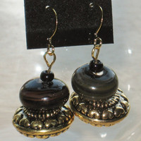 Dangling Beaded Earrings in Brown, Black and Gold