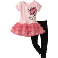 Flapdoodles Toddler Girls Rose Ballerina Dress Set