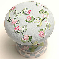 Winter Blue Rose Cottage Knob - Knobs & Pulls - Finishing Touches - Decorative - PoshLiving