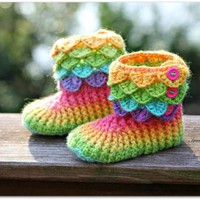 Brilliant Colors Baby Booties on Handmade Artists' Shop