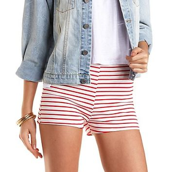 Striped High-Waisted Shorts by Charlotte Russe - White Combo