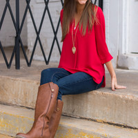 Simply Classic Blouse, Red