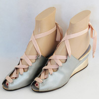 Vintage 1940s 40s Shoes Pink and Baby Blue Satin Wedge Heel Laceup Peeptoe Boudoir Slippers Sz 6 1/2 N