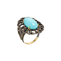 Turquoise & Champagne Diamond Dome Ring