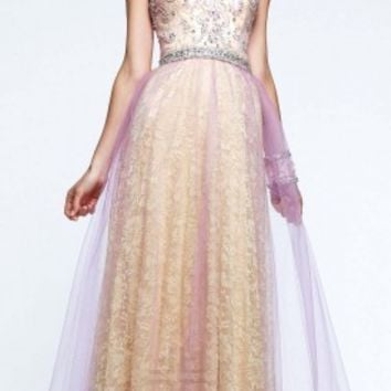 Vintage orchid tulle prom dress by Faviana