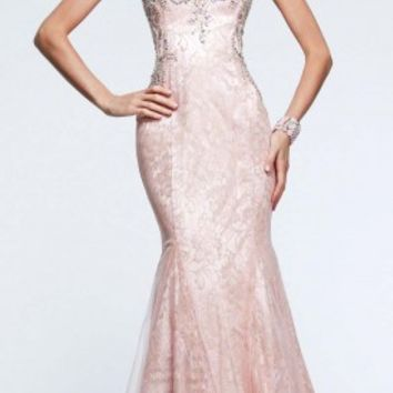 Tulle overlay prom dresses by Faviana