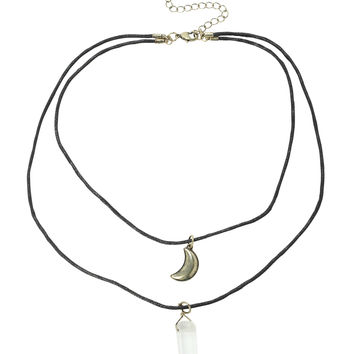 LOVEsick Moon Crystal Layer Necklace