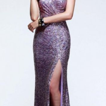 Sweetheart ruched sequin prom dresses by Faviana