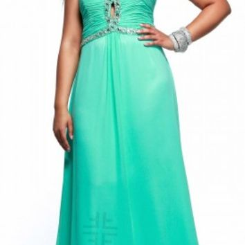 Keyhole front plus size prom dresses by Faviana