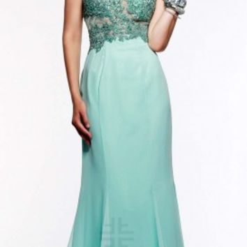 Applique illusion keyhole prom dresses by Faviana