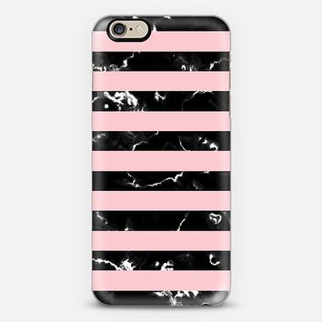 Blush Pink Black Marble Stripes iPhone 6 case by Organic Saturation | Casetify
