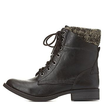 Sweater-Cuffed Lace-Up Combat Boots by Charlotte Russe - Black