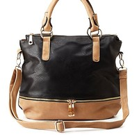 Zipper Accent Color Block Tote Bag by Charlotte Russe - Black Combo
