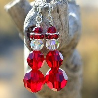 Swarovski Santa Christmas Earrings Handmade Holiday Jewelry Siam Red