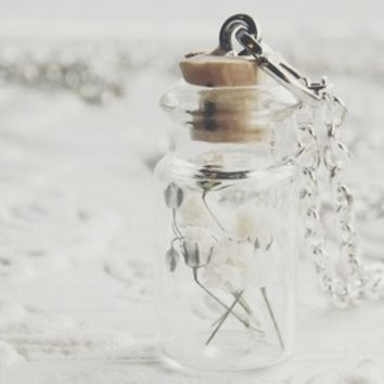 Small Baby's Breath Bottle Necklace