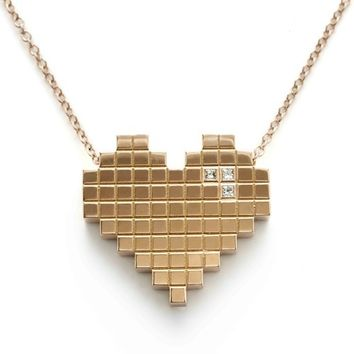Francesca Grima: NECKLACES: 'Pixel Heart' Necklace in Rose Gold