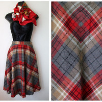 Vtg Tartan Plaid HIGH WAIST midi wool Full swing Skirt prep 11/12