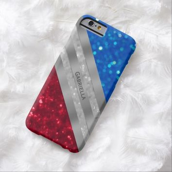Personalized Red Silver And Blue Glimmer Case
