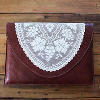 Dark Red leather laptop sleeve, 13 inch macbook, vintage doily