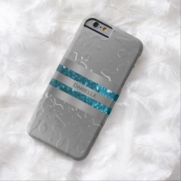 Personalized Liquid Metal Look Blue Trim Case