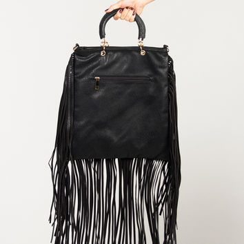 Fringed Out Leather Bag - Black - Black / One