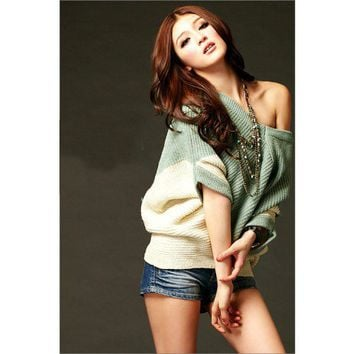 Women New Color-Block Sweater V-neck Green and Beige Top @T670gr