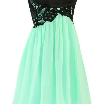 Kamilione Women's Chiffon and Lace Short Homecoming Prom Dress