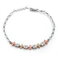 14K Tri-Color Rose, Yellow and White Gold Diamond Cut Four Clover Leaf Bracelets, Women Jewelry Gift