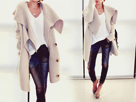 Autumn Lapel  Long Knitted Coat Sweater Cape
