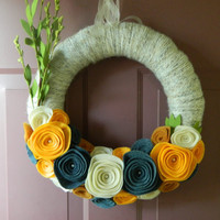 Year Round Wreath - Yarn and Felt Wreath - Yarn Wrapped Wreath with Felt Flowers for Any Season