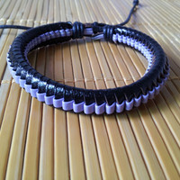 Leather Cotton Ropes Woven WomenJewelry Bangle Cuff Bracelet 1306A