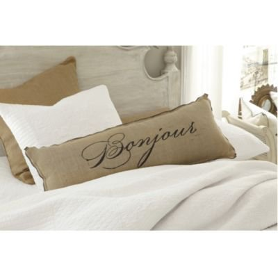 Bonjour Bonne Nuit Burlap Pillow 36 x 14 inch - Ballard Designs